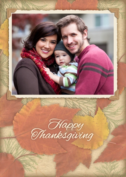 Thanksgiving Photo Cards 5x7 Folded Cards, Standard Cardstock 85lb, Card & Stationery -Autumn Leaves