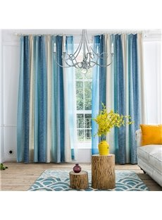 Mediterranean Style Blue Stripes Cotton & Linen Blending Custom Curtain