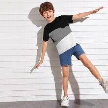 Boys Letter Patched Pocket Detail Striped Colorblock Tee