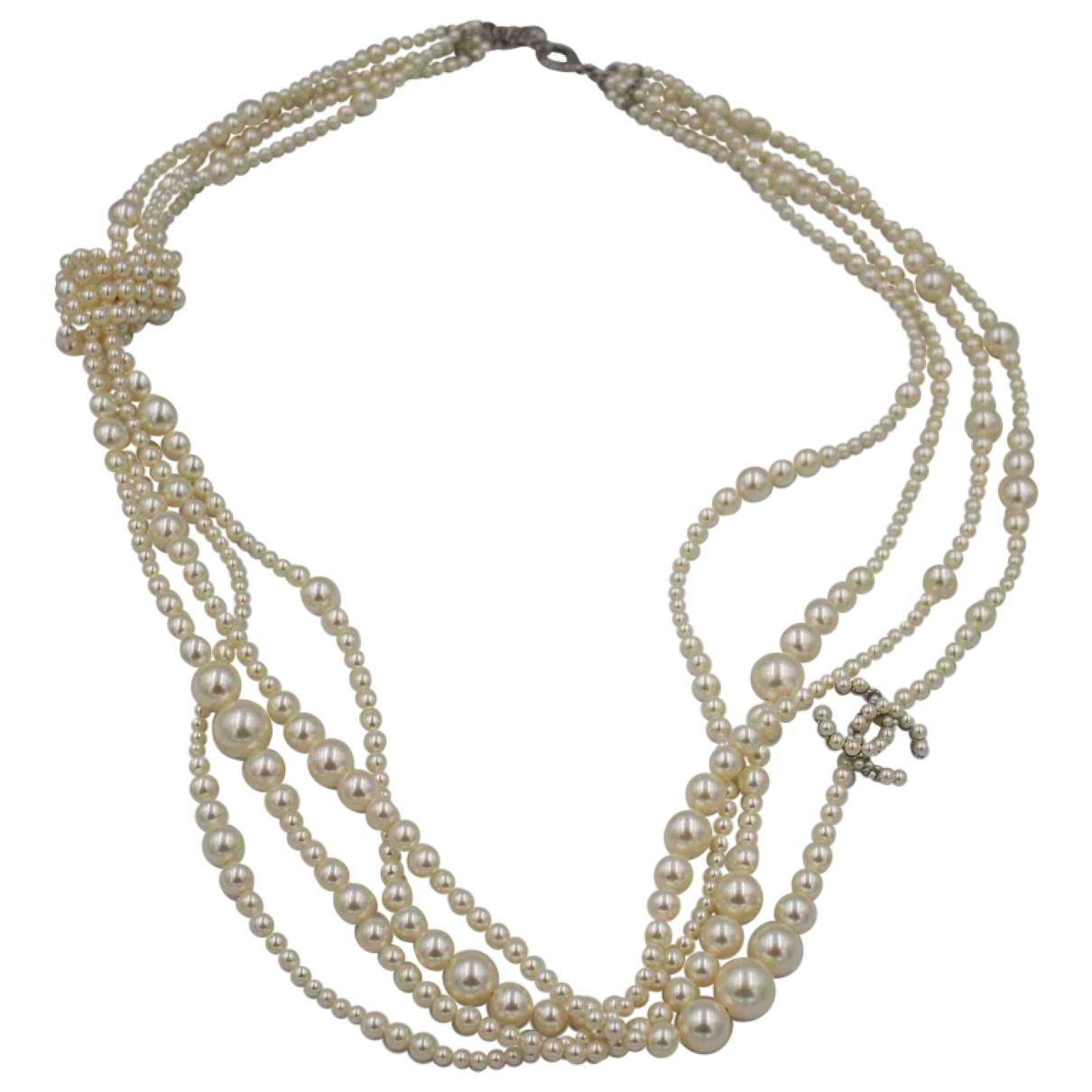 Chanel - Collier CC pour femme en perles - blanc