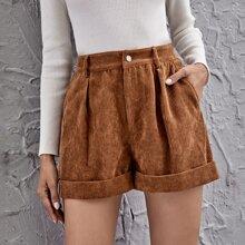 Cuffed Cord Shorts