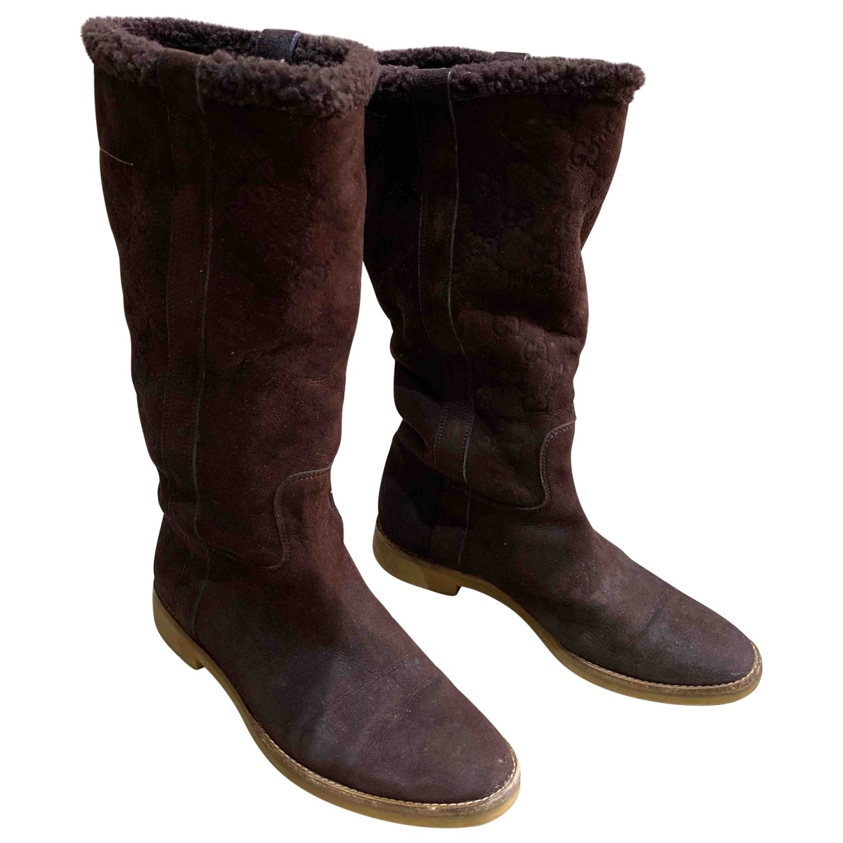 Gucci \N Brown Suede Boots for Women 37 IT