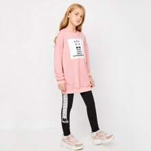 Conjunto pullover con estampado de slogan con leggings