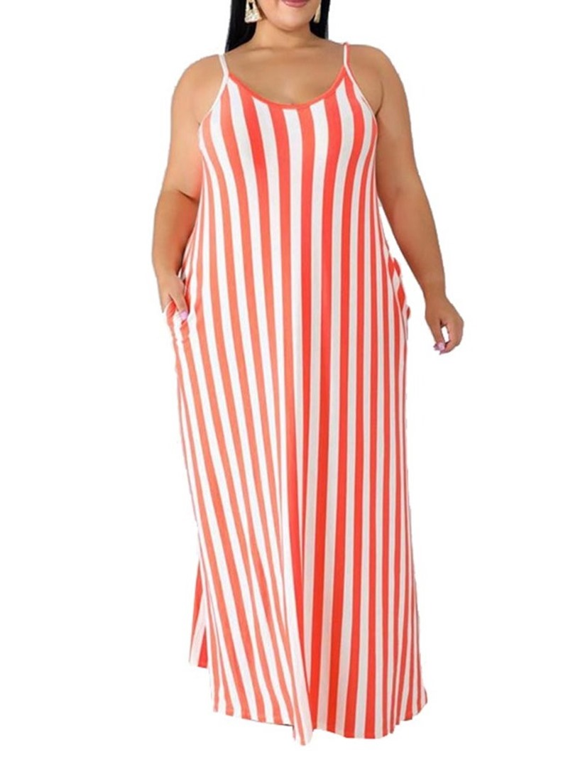 Ericdress Plus Size Striped Pocket Floor-Length Sleeveless Dress