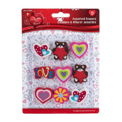 Assorted Erasers For Saint Valentine 9 Pcs/Pack