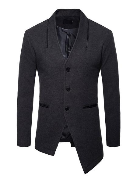 Milanoo Men Casual Outcoat V Neck Button Up Irregular Design Cotton Fall Coat