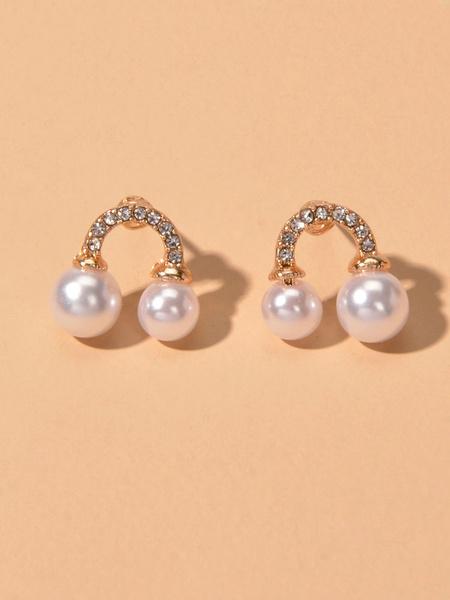 Milanoo Vintage Stud Earrings Pearl Pierced Women Jewelry