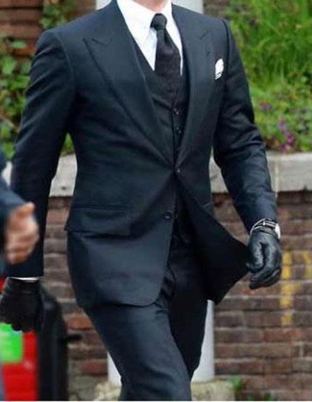 Men's Peak Wool Blend Navy 2 Button James Bond Spectre 3 Piece Suit
