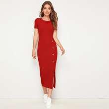Rot Geteilt  Einfarbig Elegant Kleider