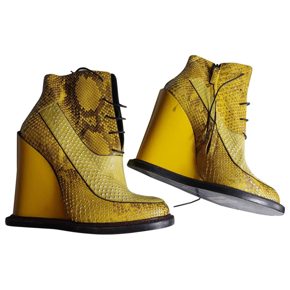 Jil Sander - Boots   pour femme en python - jaune