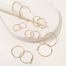 Mixed Size Hoop Earrings 6pairs