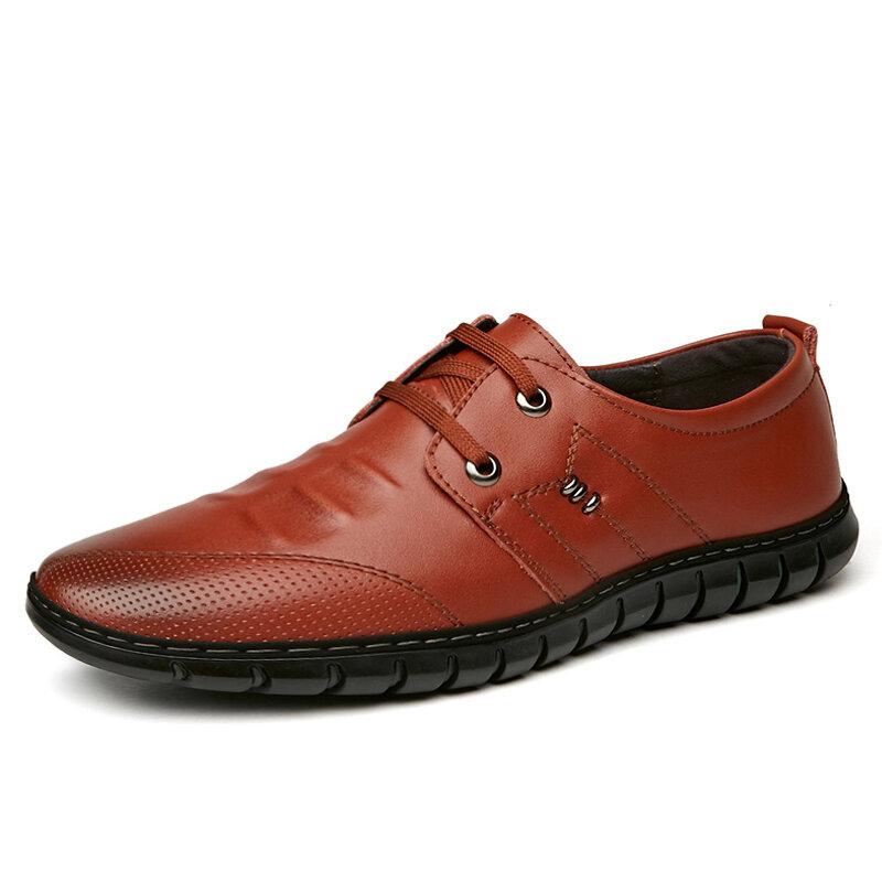 Men Vintage Comfy Soft Sole Lace Up Business Casual Leather Shoes