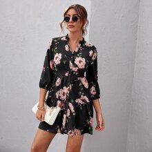 Kleid mit eingekerbtem Kragen, Knopfen vorn, Guertel und Blumen Muster