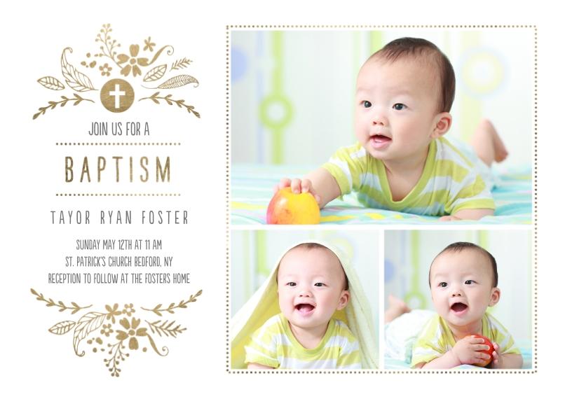 Baptism Invitations 5x7 Cards, Standard Cardstock 85lb, Card & Stationery -Baptism Foliage Arch