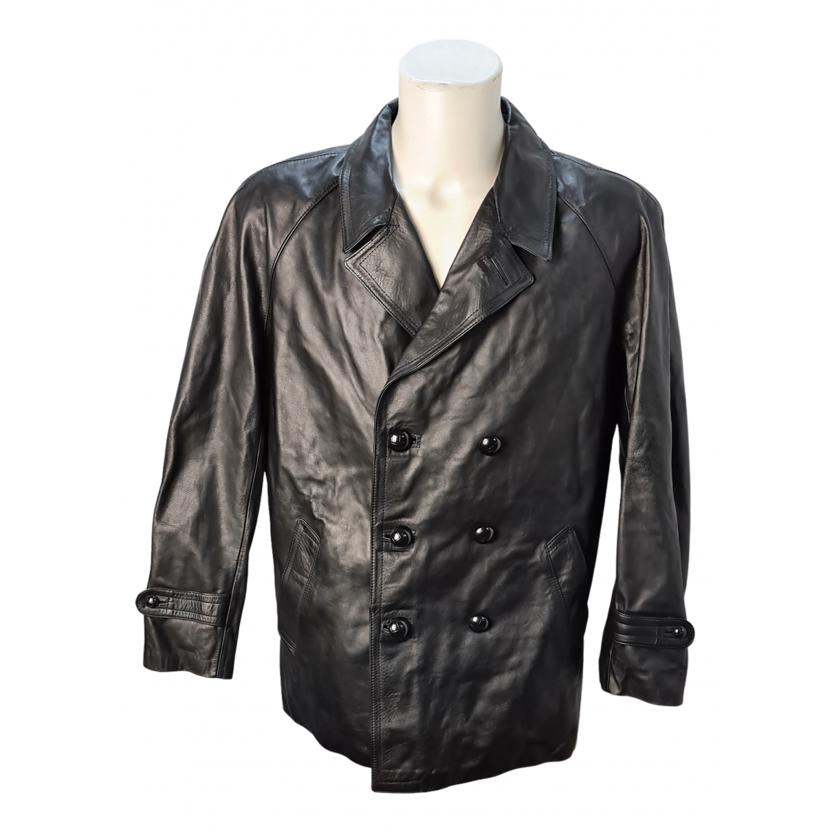 Non Signé / Unsigned N Black Leather jacket  for Men 48 IT