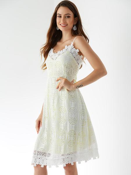 Yoins White Adjustable Shoulder Straps Crochet Lace Embellished Dress