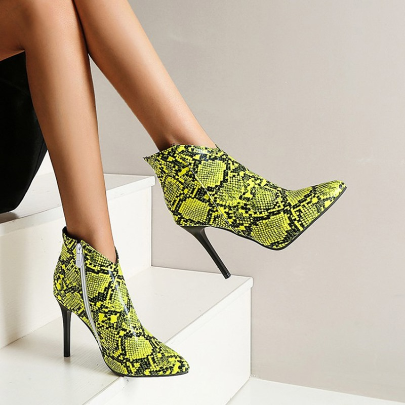Ericdress Stiletto Heel Color Block Side Zipper Serpentine Boots