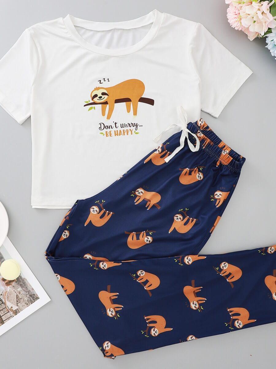 LW Lovely Animal Print Navy blue Sleepwear
