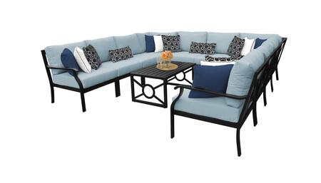 MADISON-11a-SPA Kathy Ireland Homes and Gardens Madison Ave. 11 Piece Aluminum Patio Set 11a with 1 Set of Snow and 1 Set of Tranquil
