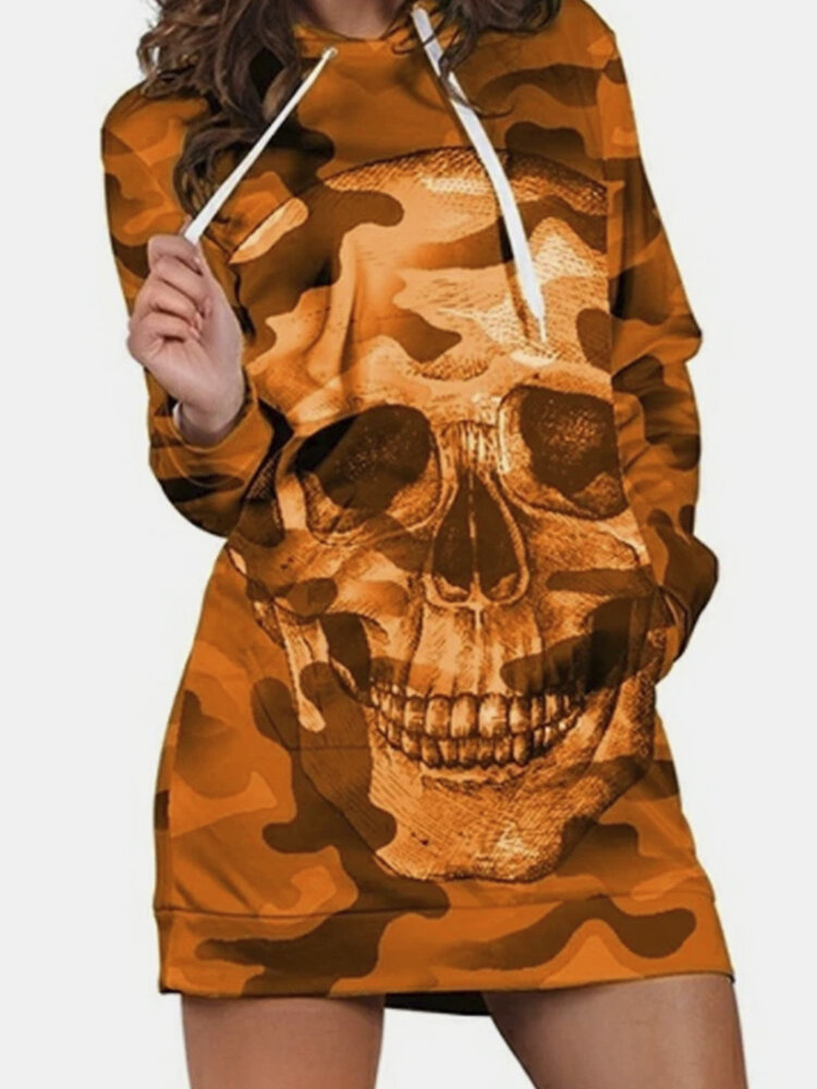 Skull Print Drawstring Long Sleeve Plus Size Hoodie