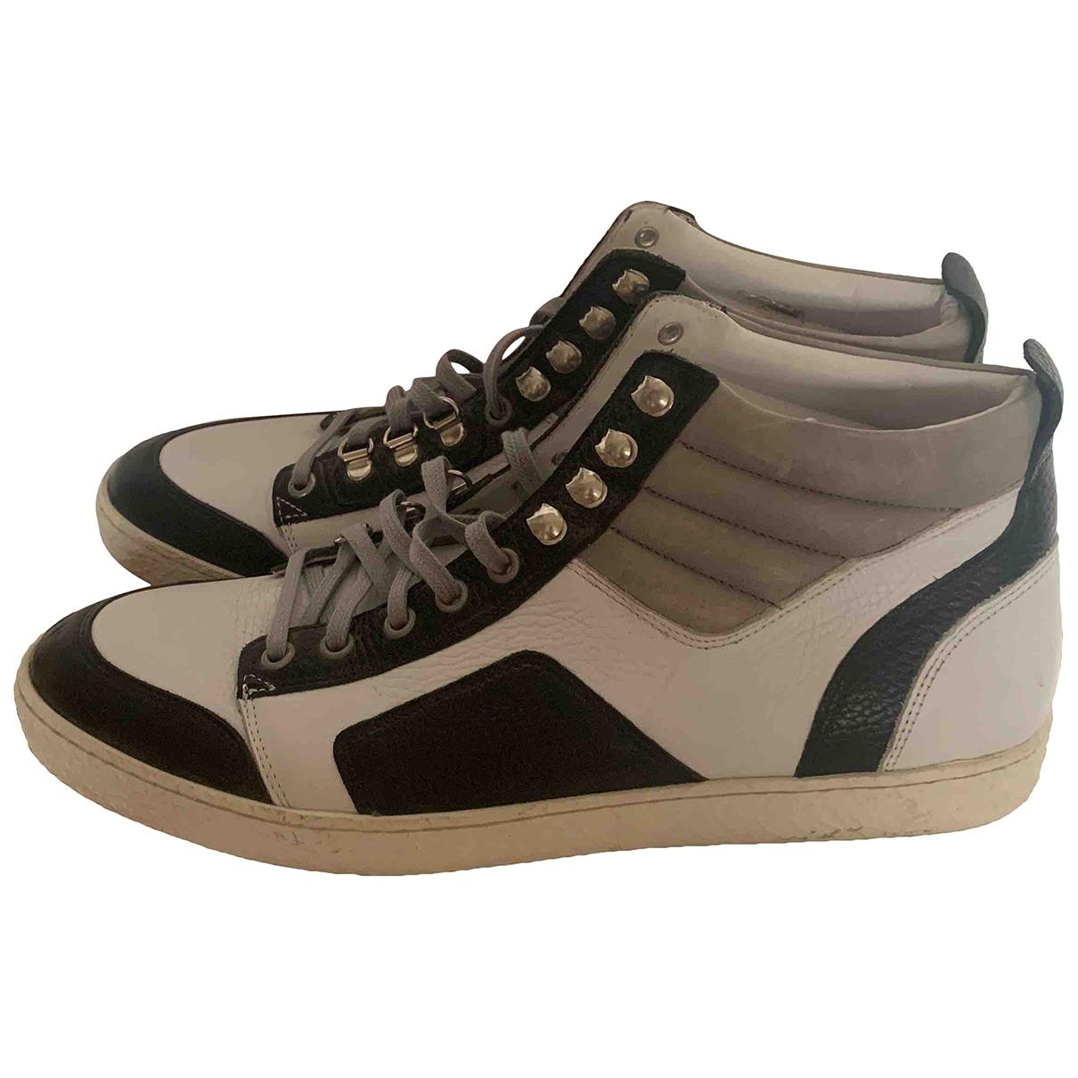 - Baskets   pour homme en cuir - blanc