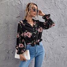 Bluse mit Schosschenaermeln und Blumen Muster