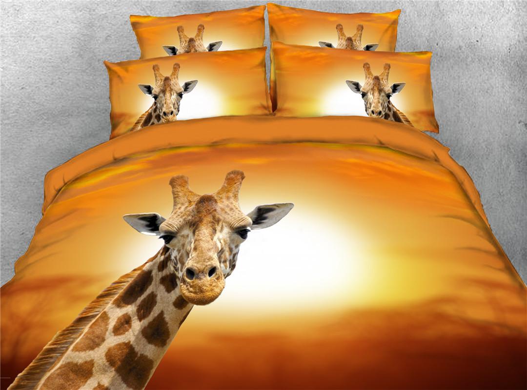 Giraffe Duvet Cover Set Four-Piece Set Hand Wash Polyester Bedding Sets Endurable Skin-friendly