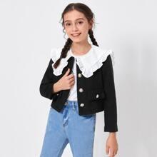 Jacke mit Peter Pan Kragen und Knopfen vorn