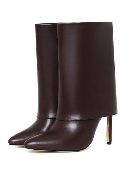 Milanoo Women\'s Mid Calf Boots Khaki PU Leather Pointed Toe Stiletto Mid-Calf Boots