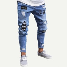 Guys Letter Pattern Ripped Jeans