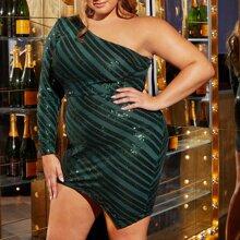 Plus One Shoulder Asymmetrical hem Sequin Dress