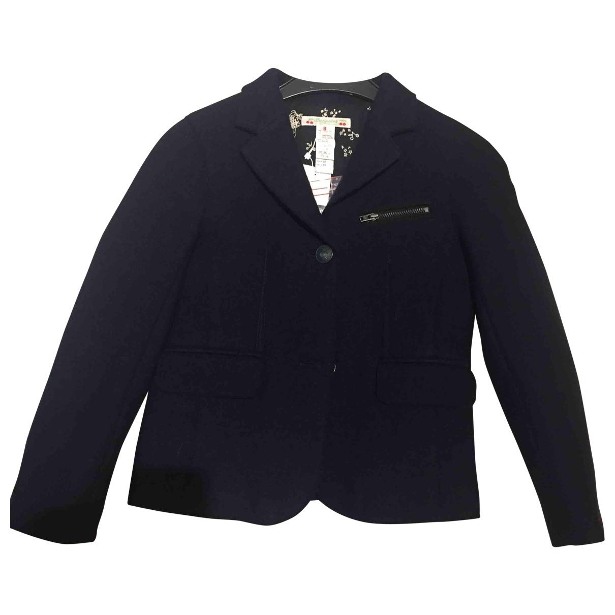 Bonpoint - Blousons.Manteaux   pour enfant en laine - marine