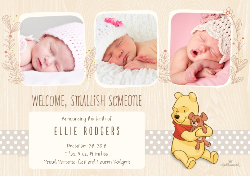 Baby Announcements Flat Matte Photo Paper Cards with Envelopes, 5x7, Card & Stationery -Smallish Someone - Winnie the Pooh