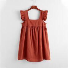 Ruffle Armhole Solid Smock Dress