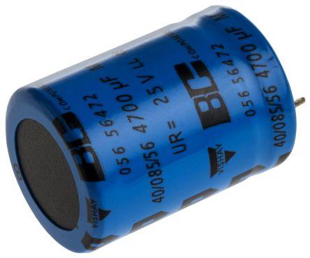 Vishay 4700μF Electrolytic Capacitor 25V dc, Through Hole - MAL205656472E3