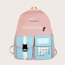 Release Buckle Decor Two Tone Backpack