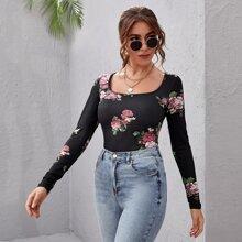 T-Shirt mit U Kragen und Blumen Muster
