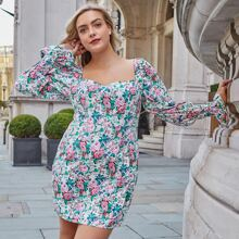Plus Floral Print Shirred Cuff Fitted Dress