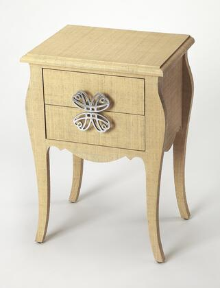 Felicia Collection 4366349 End Table with Transitional Style  Rectangular Shape  Medium Density Fiberboard (MDF) and Aluminum Material in Cream