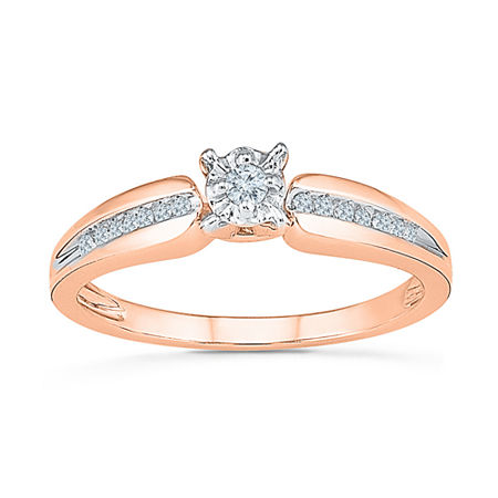 Promise My Love Womens 1/8 CT. T.W. Genuine White Diamond 10K Gold Promise Ring, 4 , No Color Family