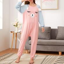 Mono de pijama de manga raglan con estampado de dibujos animados con oreja
