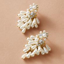 1pair Faux Pearl Beaded Cluster Tassel Drop Earrings