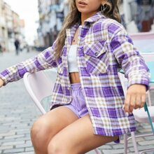 Flap Pocket Plaid Tweed Coat