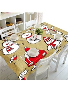 3D Santa Claus and Snowmen Printed Thick Polyester Creative and Modern Table Cloth