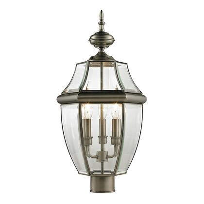 8603Ep/80 Ashford 3 Light Outdoor Post Lamp In Antique