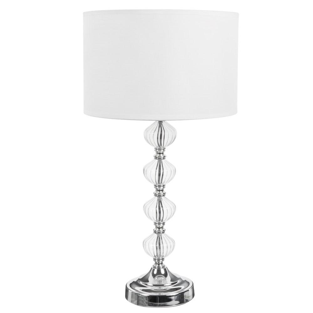 Lampe MONTMARAULT aus Glas mit Fuss und Lampenschirm aus Stoff, H 53cm, weiss
