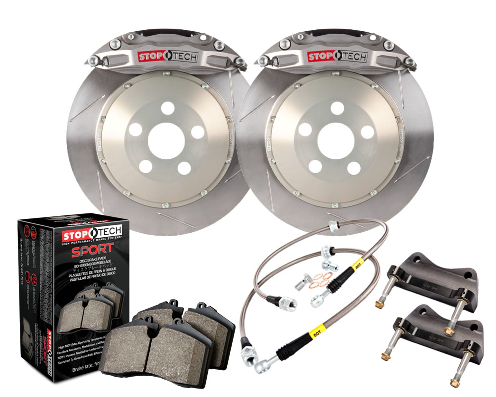 StopTech 83.895.4300.R1 Trophy Sport Big Brake Kit; Silver Caliper Slotted 2-Piece Rotor; Front Front