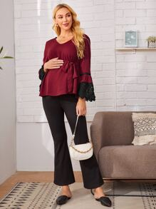 Maternity Guipure Lace Trim Bell Sleeve Self Belted Top