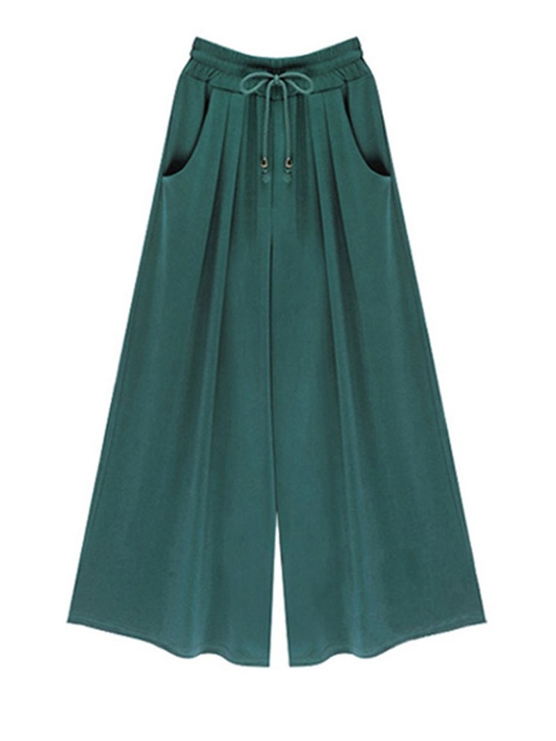 Ericdress Plain Lace-Up Loose Ankle Length Wide Legs Casual Pants