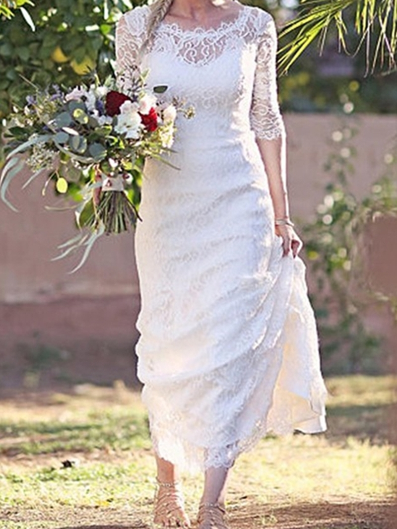 Ericdress Lace Mermaid Scoop Garden/Outdoor Wedding Dress 2020